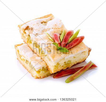 Homemade Rhubarb pie, cake isolated. Rhubarb cake isolated on white background.