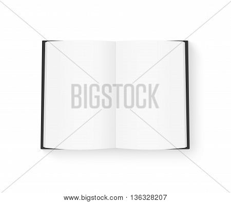 Open blank book mock up isolated on white 3d illustration. Black cover diary mockup on table presentation. Catalog guide template layout. Redactor text makeup. Magazine opened in middle. Empty notebook booklet design