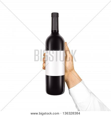 Blank white label mock up on black bottle of red wine in hand isolated. Alcohol bottle mockup presentation ready for logo design. Full drink bottle template with empty sticker. Clear tag vine bottle.