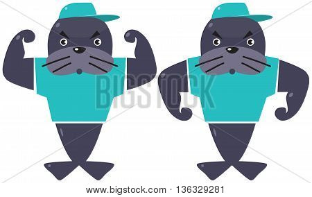 Two funny strong seals in caps and t-shirts. Children vector illustration. Athletes
