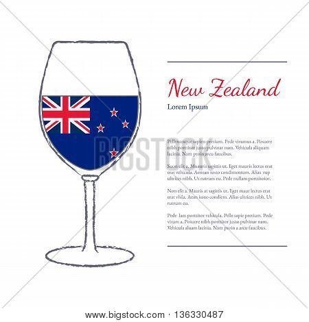 Rough brush stroked wine glass with National flag of New Zealand top wine making country. Graphic design elements isolated on white background. Template with place for your text. Vector illustration