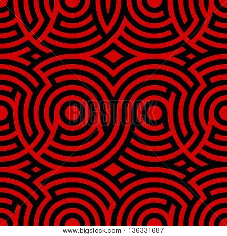 Two-color spiral patterns. Seamless pattern. Vector background. Modern pattern. Hypnotic red and black line.