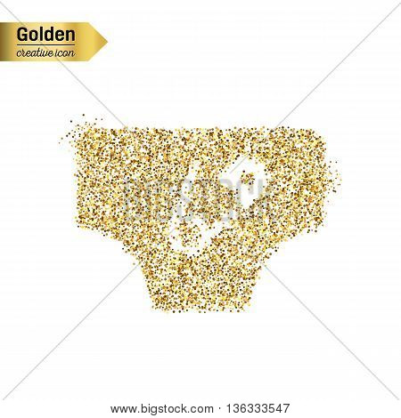 Gold glitter vector icon of diaper isolated on background. Art creative concept illustration for web, glow light confetti, bright sequins, sparkle tinsel, abstract bling, shimmer dust, foil.