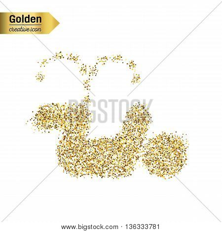 Gold glitter vector icon of pee isolated on background. Art creative concept illustration for web, glow light confetti, bright sequins, sparkle tinsel, abstract bling, shimmer dust, foil.