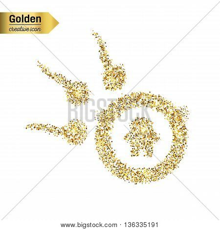 Gold glitter vector icon of spermatozoons, floating to ovule isolated on background. Art creative concept illustration for web, glow light confetti, bright sequins, sparkle tinsel, shimmer dust, foil.