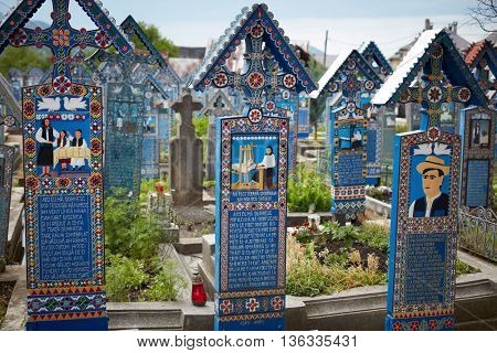 SAPANTA, ROMANIA - 18 JUNE, 2016- The merry cemetery of Sapanta, Maramures, Romania.  Unique cemetery in Romania and in the world.