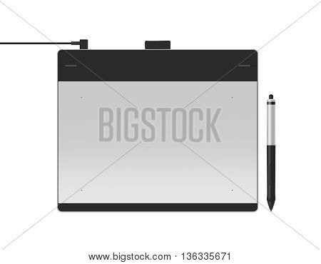 Graphic tablet with stylus illustration 3d illustration. Big picture of digitizer device with digital pen isolated on white. Creative draw tool for designers. Icon of tablet display near multimedia pencil sketching.