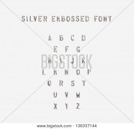 Silver embossed alphabet isolated 3d illustration. Argent typing font design. Beveled symbols embossing on plastic card. Hammering chamfer type letters text. Grunge metallic lettering emboss fount