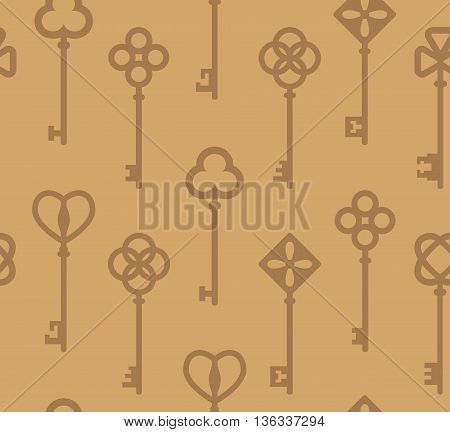 Beige seamless pattern with antique keys. Vector illustration.