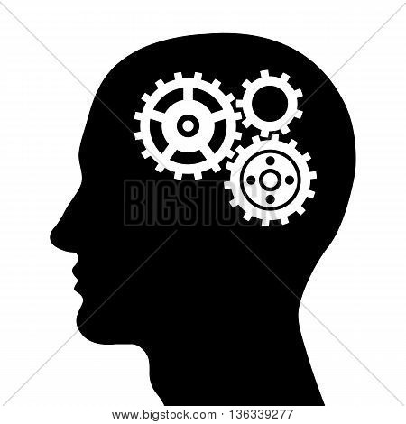 Black head silhouette with gears. Vector illustration.