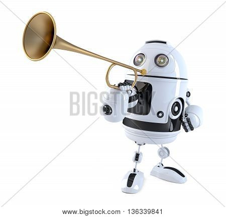 Robot trumpet player. Technology concept. 3D illustration. Contains clipping path.