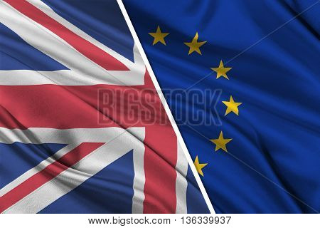 Brexit. 3D illustration of Silky Flags of European Union and United Kingdom.