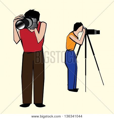 Action of Two men capturing pictures in their respective cameras