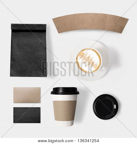 Design Concept Of Mockup Paper, Bag, Coffee, Lid And Coffee Cup Set On White Background. Copy Space
