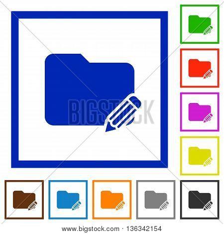 Set of color square framed Rename folder flat icons