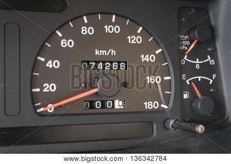 Modern car illuminated dashboard closeup, Kilometer, Blue, Competition