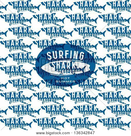 Shark seamless pattern and surfing emblem. Blue print on white background