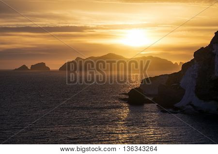 Stunning sunset over the Pontine Islands in Central Italy.