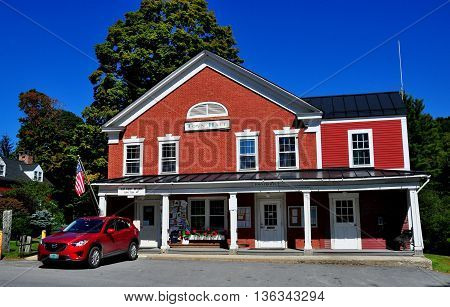 Grafton Vermont - September 19 2014: A long portico covers the entrances to the 1816 brick Town Hall and United States Post Office *