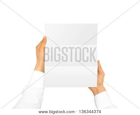 Hand holding blank brochure booklet in the hand. Leaflet presentation. Letter hand man. Man show offset paper. Sheet template. Message in hands. Mail folding design. Fold writing card display read.