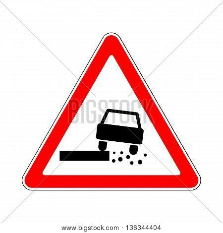 Traffic-Road Sign: Dangerous Roadside on White Background