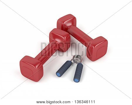Pair of dumbbells and hand gripper on white background, 3D illustration