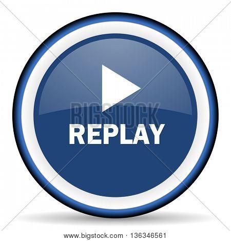 replay round glossy icon, modern design web element
