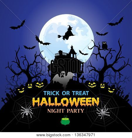 Happy Halloween holiday festival party blue night full moon background vector illustration.