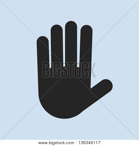 Stop hand black Icon symbol. Vector illustration