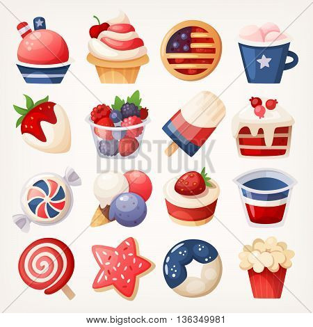 Summer fruit and desserts decorated for the 4th of july. Stickers with pastry sweets and berries for independence day. Isolated vector illustrations.