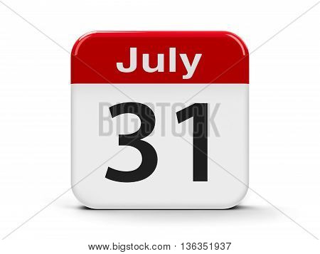 Calendar web button - The Thirty First of July three-dimensional rendering 3D illustration