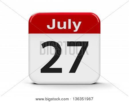 Calendar web button - The Twenty Seventh of July three-dimensional rendering 3D illustration