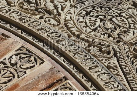 Cordoba - Spain - June 10, 2016 :the Detail Of Mudejar Portal Of The Cathedral.