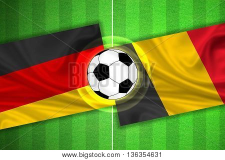 green Soccer / Football field with stripes and flags of germany - belgium and ball - 3D illustration