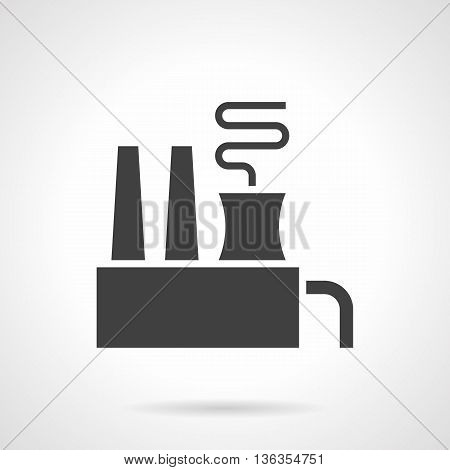 Abstract monochrome silhouette sign of factory or plant with chimneys and smoke. Environment pollution problems. Industrial facilities and objects. Symbolic black glyph style vector icon.
