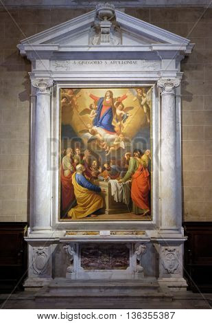 LUCCA, ITALY - JUNE 06, 2015: Altarpiece depicting Assumption of the Virgin Mary, work by Stefano Tofanelliin Cathedral of St.Martin in Lucca, Italy, on June 06, 2015