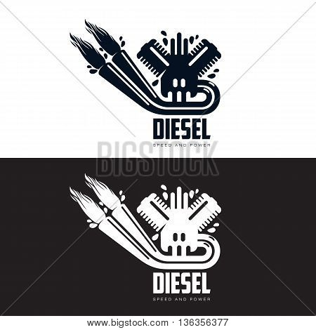 design logo motor gasoline, vector illustration, isolated on a white background, Logoth combustion engine with fire, running on petrol, logo design one isolated internal combustion engine