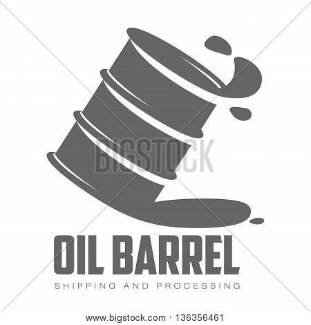 barrel of gray oil, vector illustration contour isolated on white background, logo gray barrel of oil, petroleum products, transportation of oil in barrels