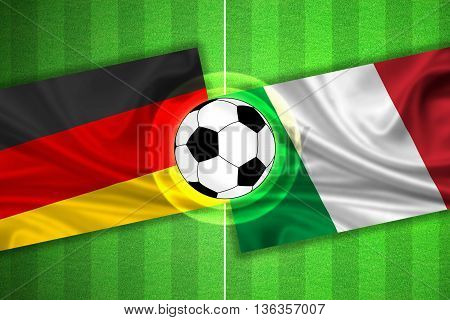 green Soccer / Football field with stripes and flags of germany - italy and ball - 3D illustration