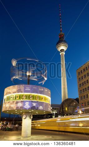 Berlin Alexanderplatz by night with TV Tower and world clock
