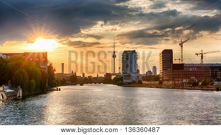 View from the Oberbaum Bridge in Berlin, Germany, at sunset