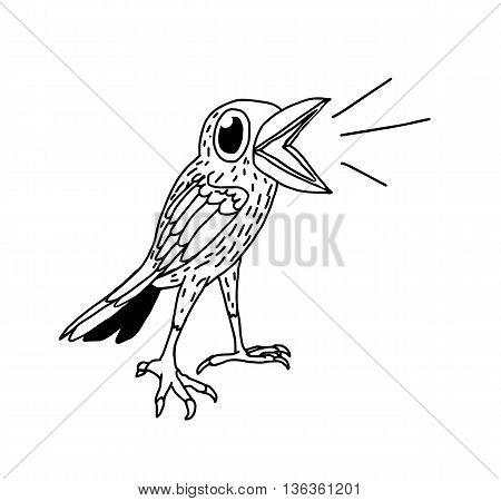 Hand drawn black and white doodle tweeting bird.