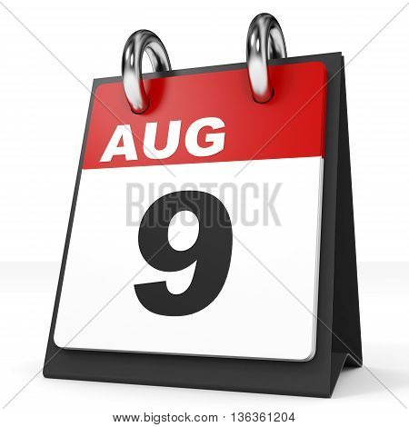 Calendar On White Background. 9 August.