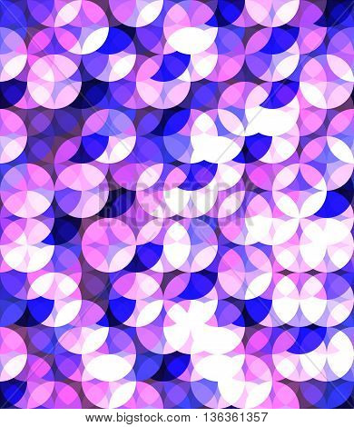 Cosmic color seamless pattern in cool colors. Circle spackling figures. EPS 10