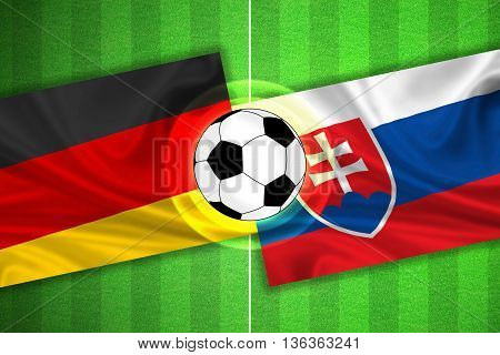 green Soccer / Football field with stripes and flags of germany - slovakia and ball - 3D illustration