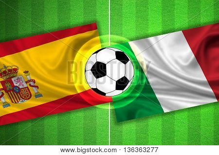 green Soccer / Football field with stripes and flags of spain - italy and ball - 3D illustration
