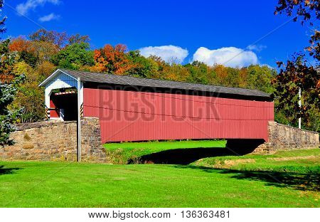 East Earl Township Pennsylvania - October 19 2015: 1878 Burr arch-truss Weaverland Road Covered Bridge *