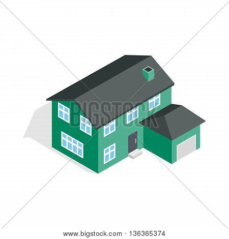 Two storey house with garage icon in isometric 3d style isolated on white background. Construction symbol