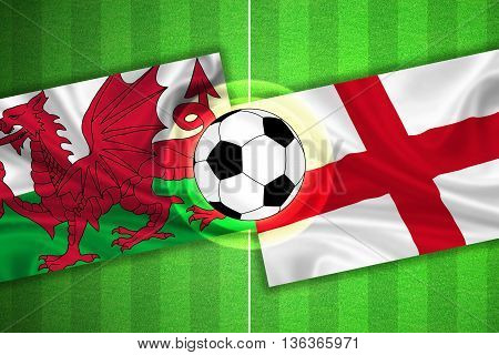 green Soccer / Football field with stripes and flags of wales - england and ball - 3D illustration