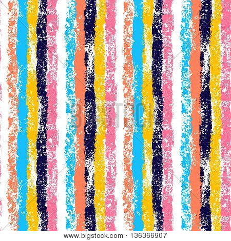 Colorful vertical stripes hand painted striped grunge seamless pattern, vector background